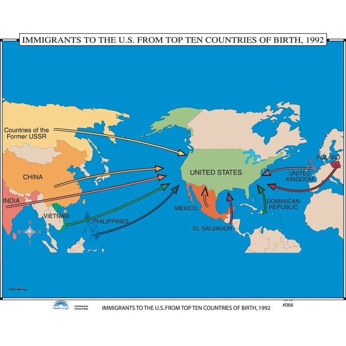 U.S. History Wall Maps - Immigrants to the U.S. Top Ten Countries of Birth