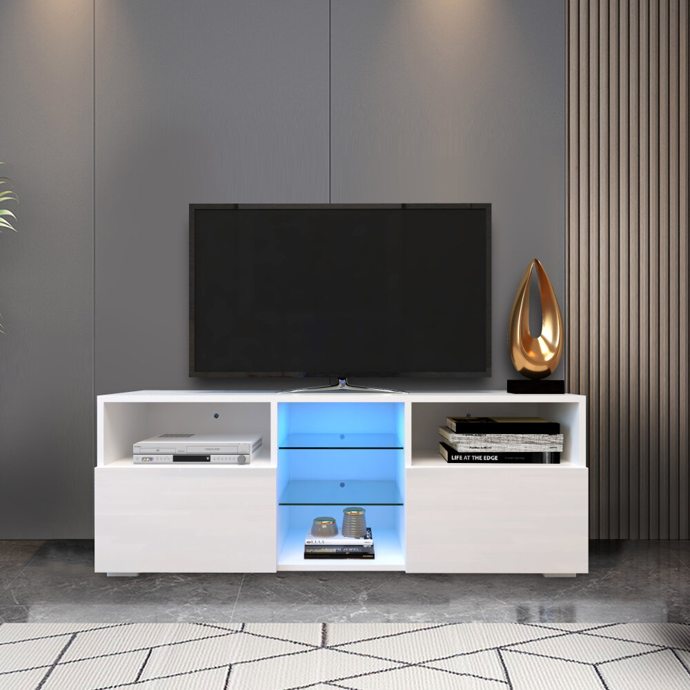Orren Ellis Modern Minimalist Tv Cabinet Living Room With 20 Colors Led Lights Tv Stand Entertainment Center White Modern High Gloss Led Tv Cabinet Fits Up To 55 Inch Tvs Wayfair