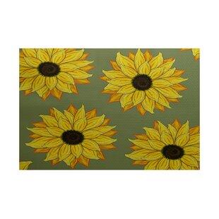 Eulalia Sunflower Power Flower Print Green Outdoor Indoor/Outdoor Area Rug