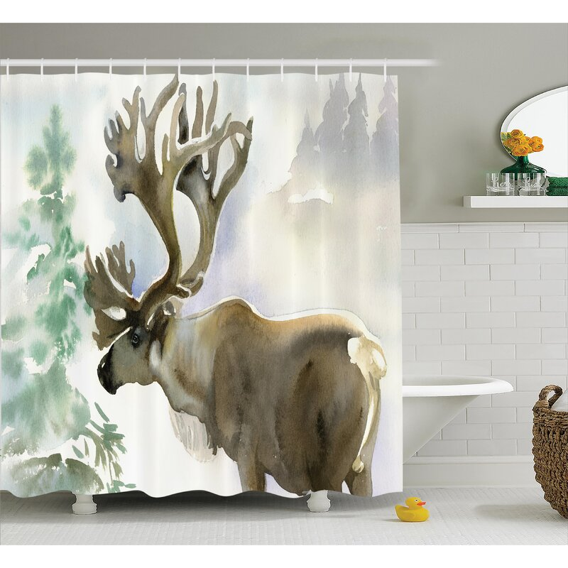 East Urban Home Moose Shower Curtain   Wayfair