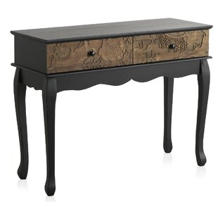 Priyanka Wooden Carved 2 Drawer Console Table By World Menagerie