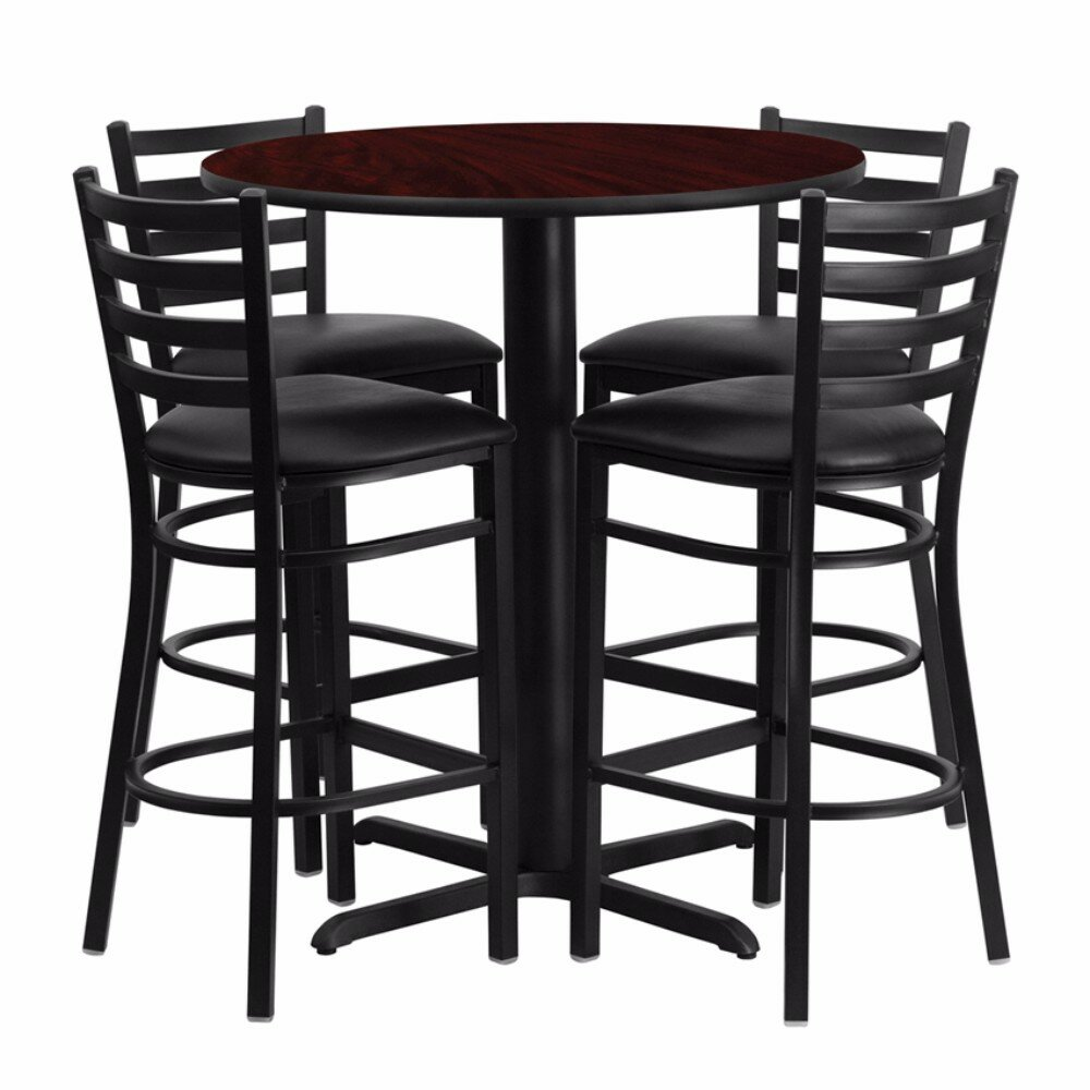 Red Barrel Studio Alvarez Modern Round Laminate 5 Piece Upholstered Pub Table Set Wayfair
