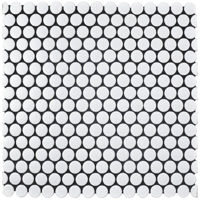 """EliteTile  Retro 0.75"""" x 0.75"""" Porcelain Tile Color: Matte White"""