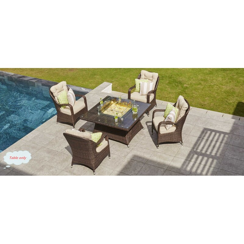 Rosecliff Heights Lepley Resin Wicker PropaneNatural Gas Fire Pit - Resin wicker fire pit table