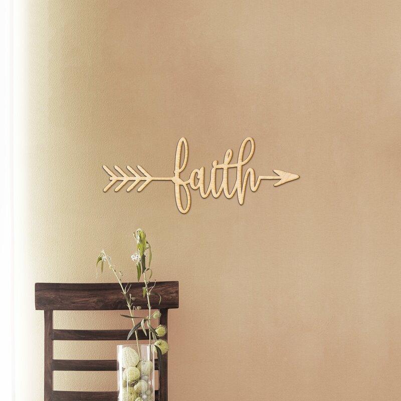 Winston Porter Faith Arrow Wood Sign Home Gallery Wall Decor | Wayfair