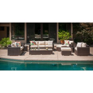 Virgilina 9 Piece Rattan Sofa Seating Group with Cushions