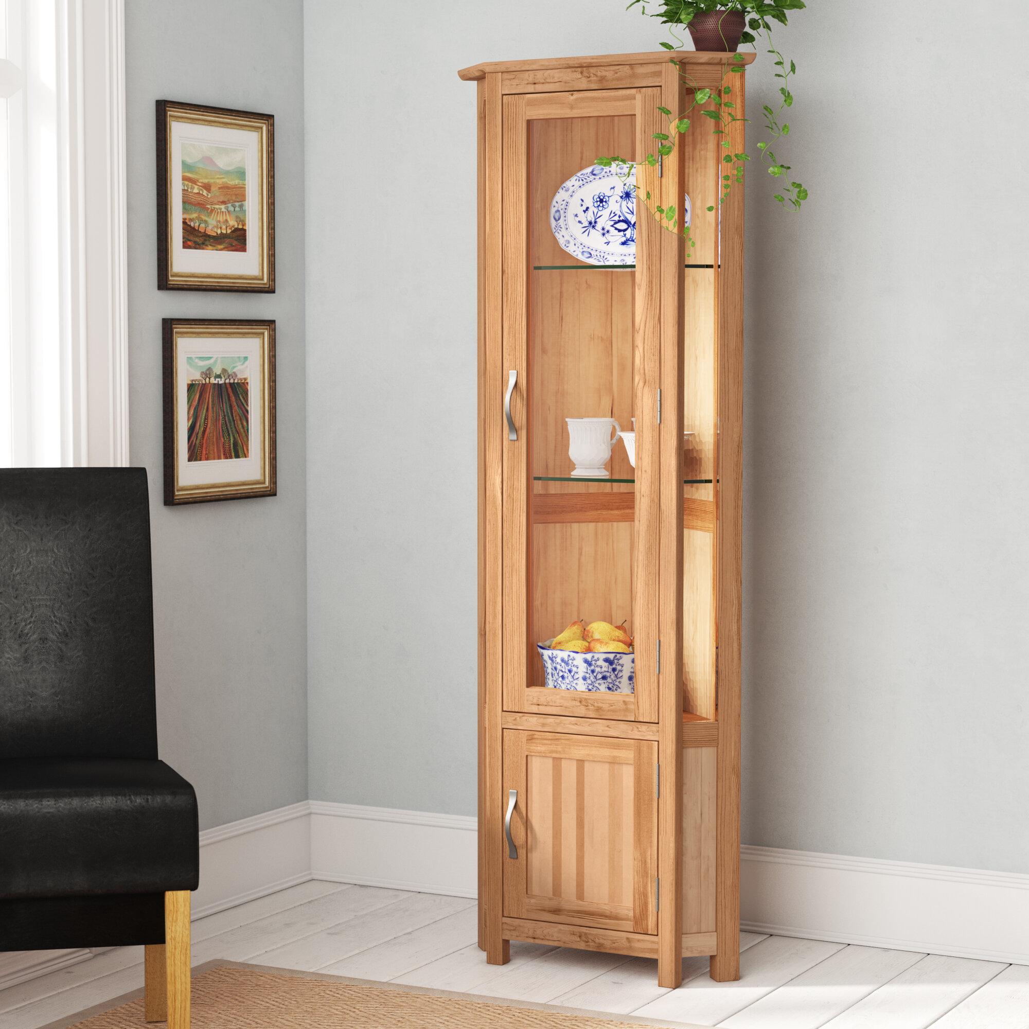 Marley Solid Oak Corner Display Cabinet