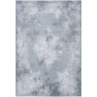 Pickrell Distressed White/Pale Blue Area Rug ByOne Allium Way