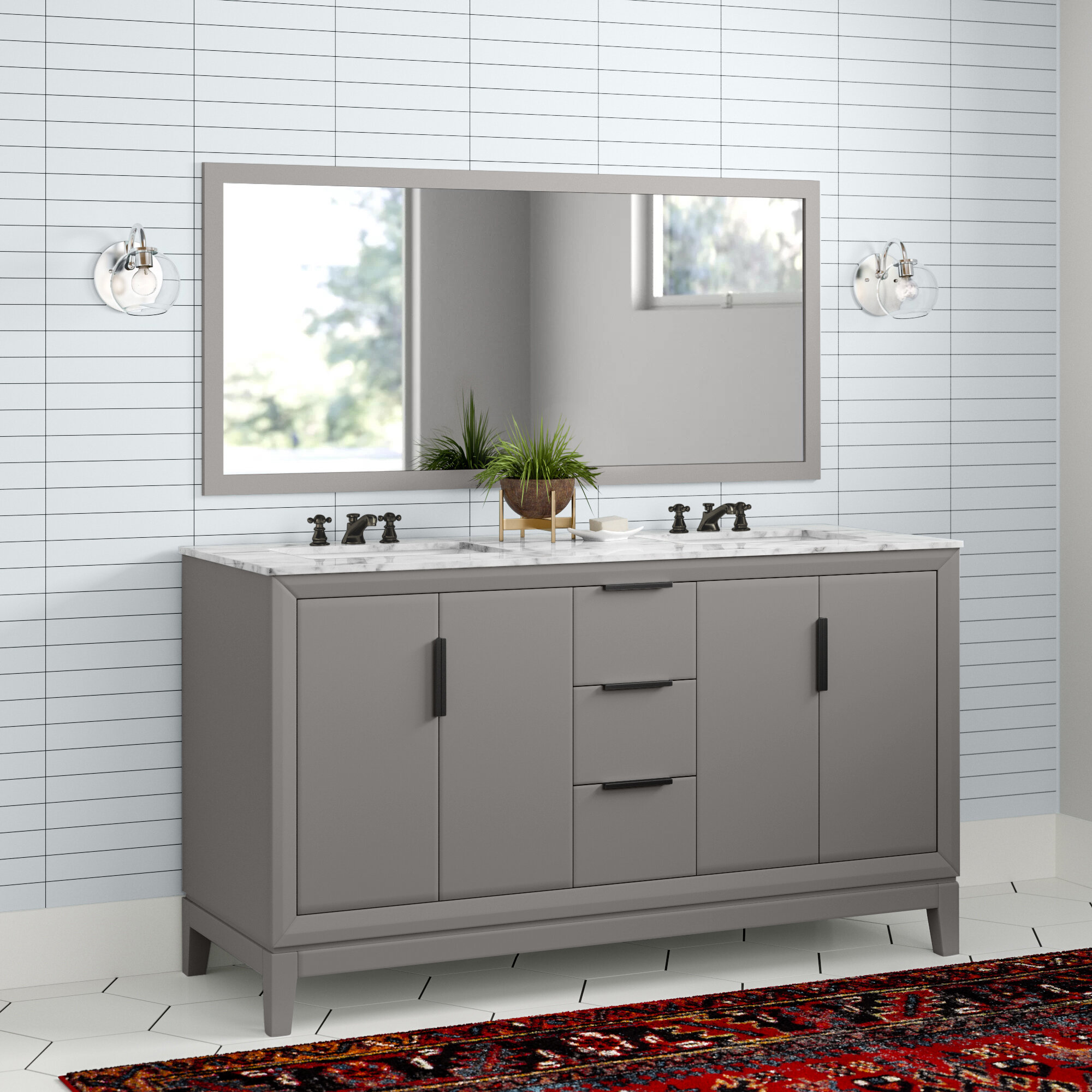 Evita 60 Double Bathroom Vanity Set
