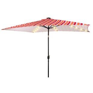 Three Posts Bonnett Patio Solar Powered LED Lighted 6.5' x 10' Rectangular Market Umbrella