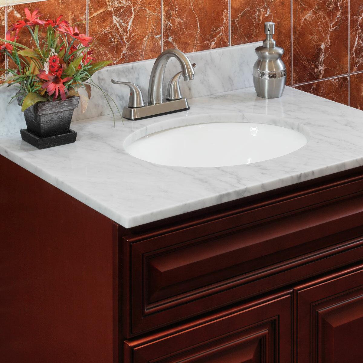 Cara White 61 Double Bathroom Vanity Top
