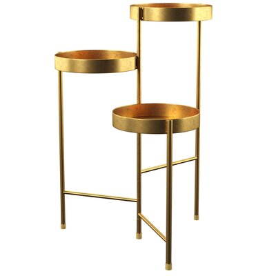 Mercury Row Lofgren Metal Multi-Tiered Plant Stand Color: Gold