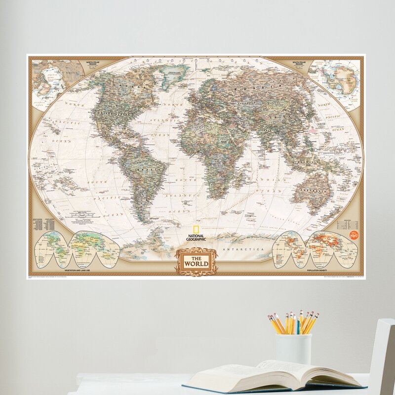 National Geographic World Map Murals.Wallpops Wall Art Kit National Geographic World Map Wall Mural