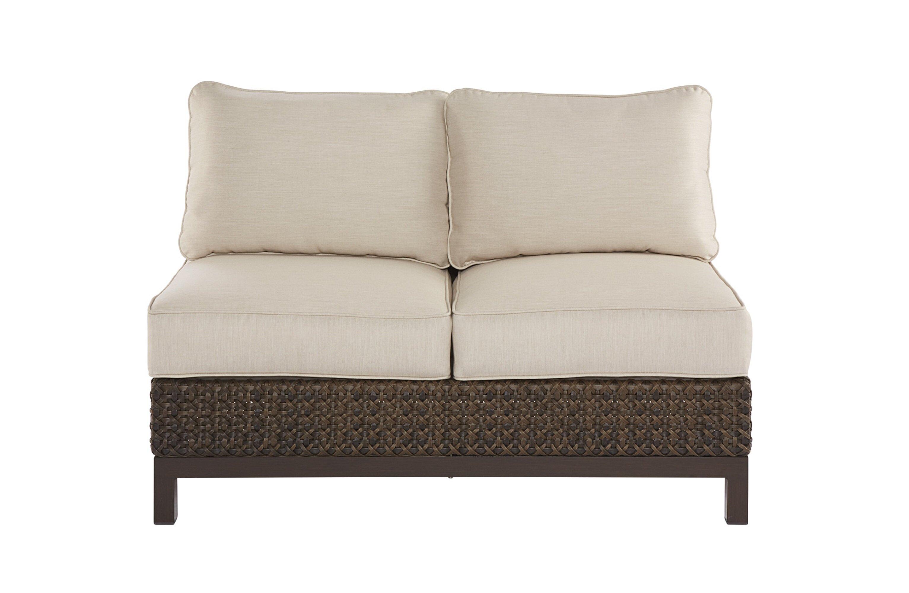 Beau Asphodèle Wicker Patio Loveseat With Cushions