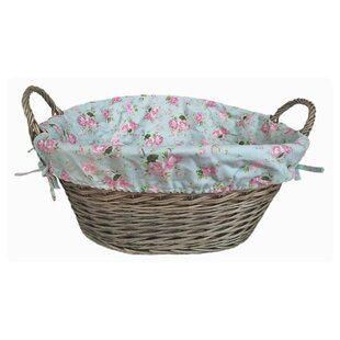 Wicker Laundry Basket With Cottage Rose Lining By Lily Manor