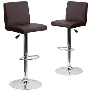 Rufus Adjustable Height Swivel Bar Stool (Set of 2) Wrought Studio