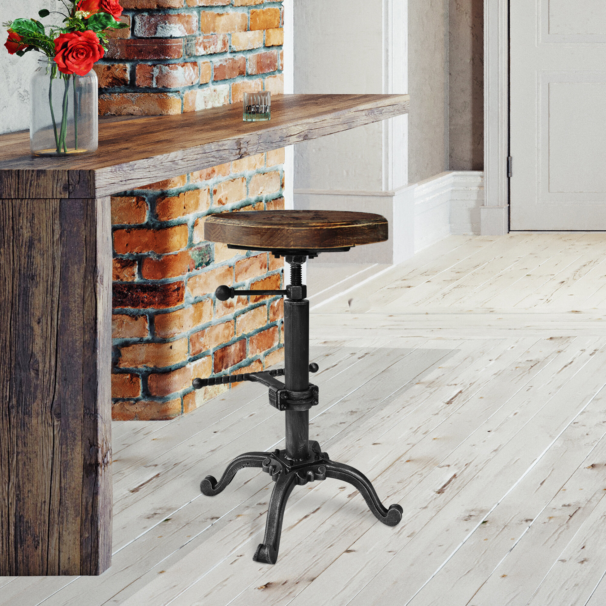 Pleasant Davi Industrial Adjustable Backless Barstool In Silver Brushed Grey With Rustic Pine Wood Seat Evergreenethics Interior Chair Design Evergreenethicsorg