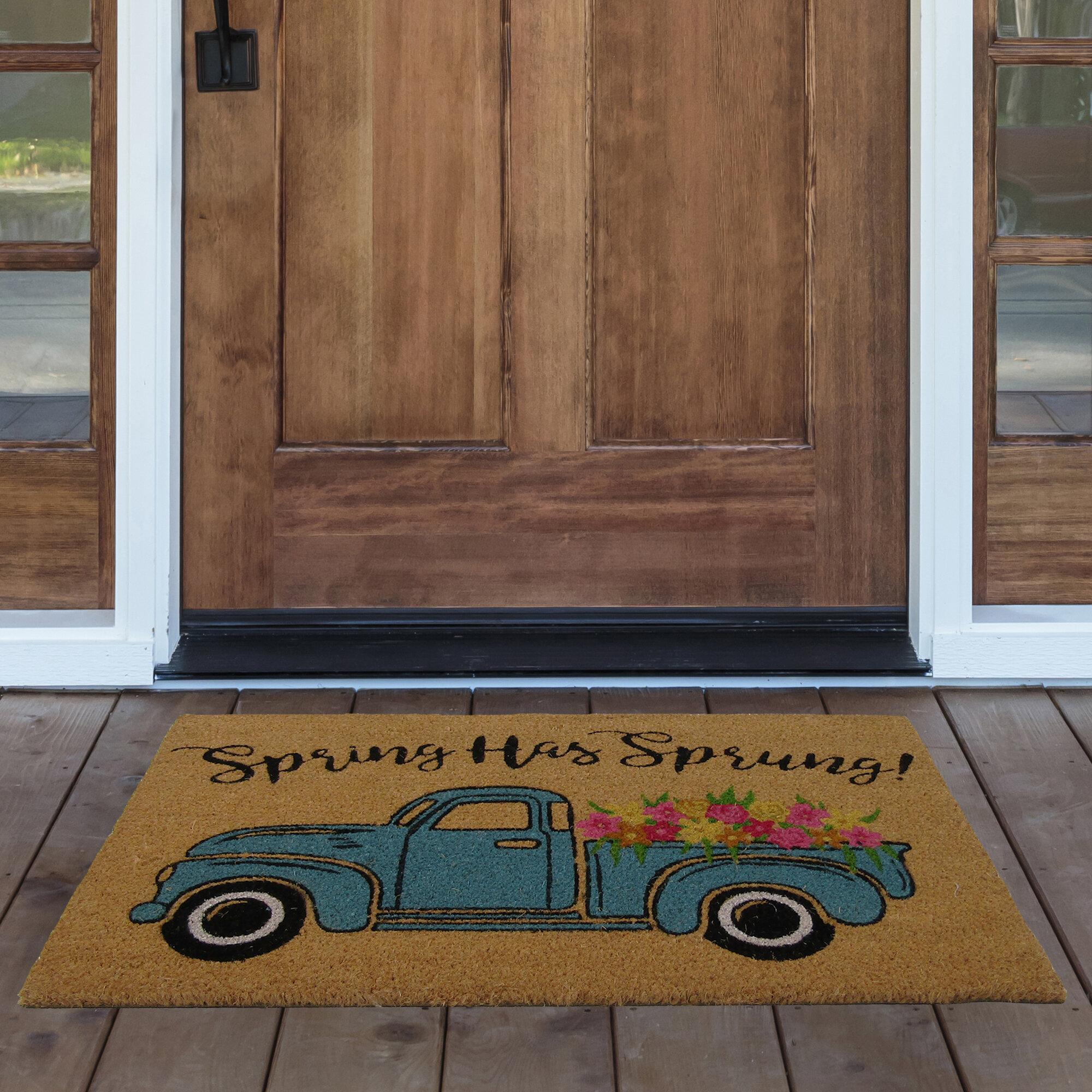 August Grove Kunkle Spring Has Sprung Farm Truck Coir 30 In X 18 In Non Slip Indoor Outdoor Door Mat Reviews Wayfair
