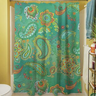 Aqua Bloom Paisley Single Shower Curtain