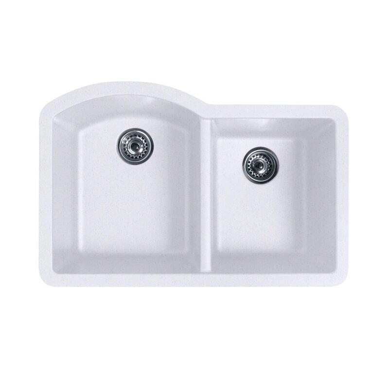 "swanstone 32"" x 21"" double basin undermount kitchen sink & reviews"
