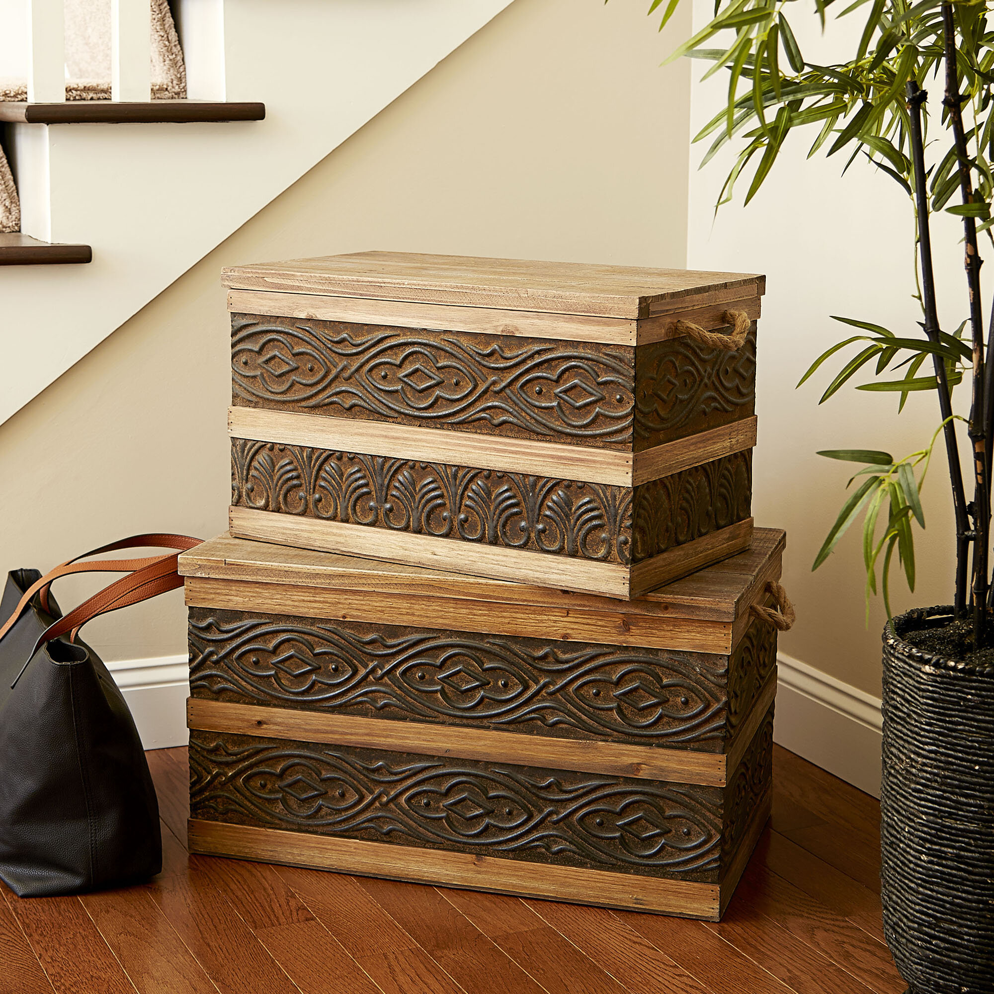 Household Essentials Decorative Metal Banded Wooden Storage Trunk with Handles Small