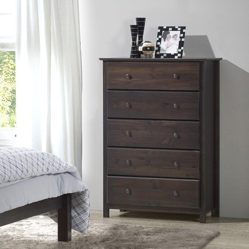 Grain Wood Furniture Shaker 5 Drawer Chest & Reviews | Wayfair