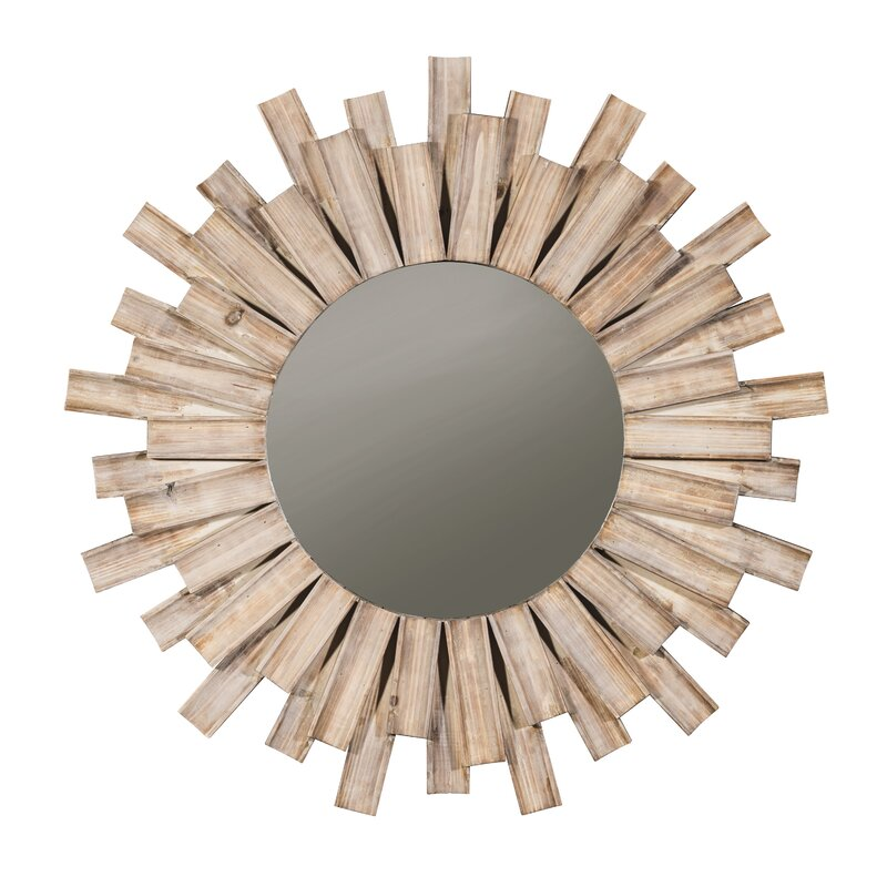 Perillo Burst Wood Accent Mirror is a whimsical driftwood sunburst style decor moment for your room.