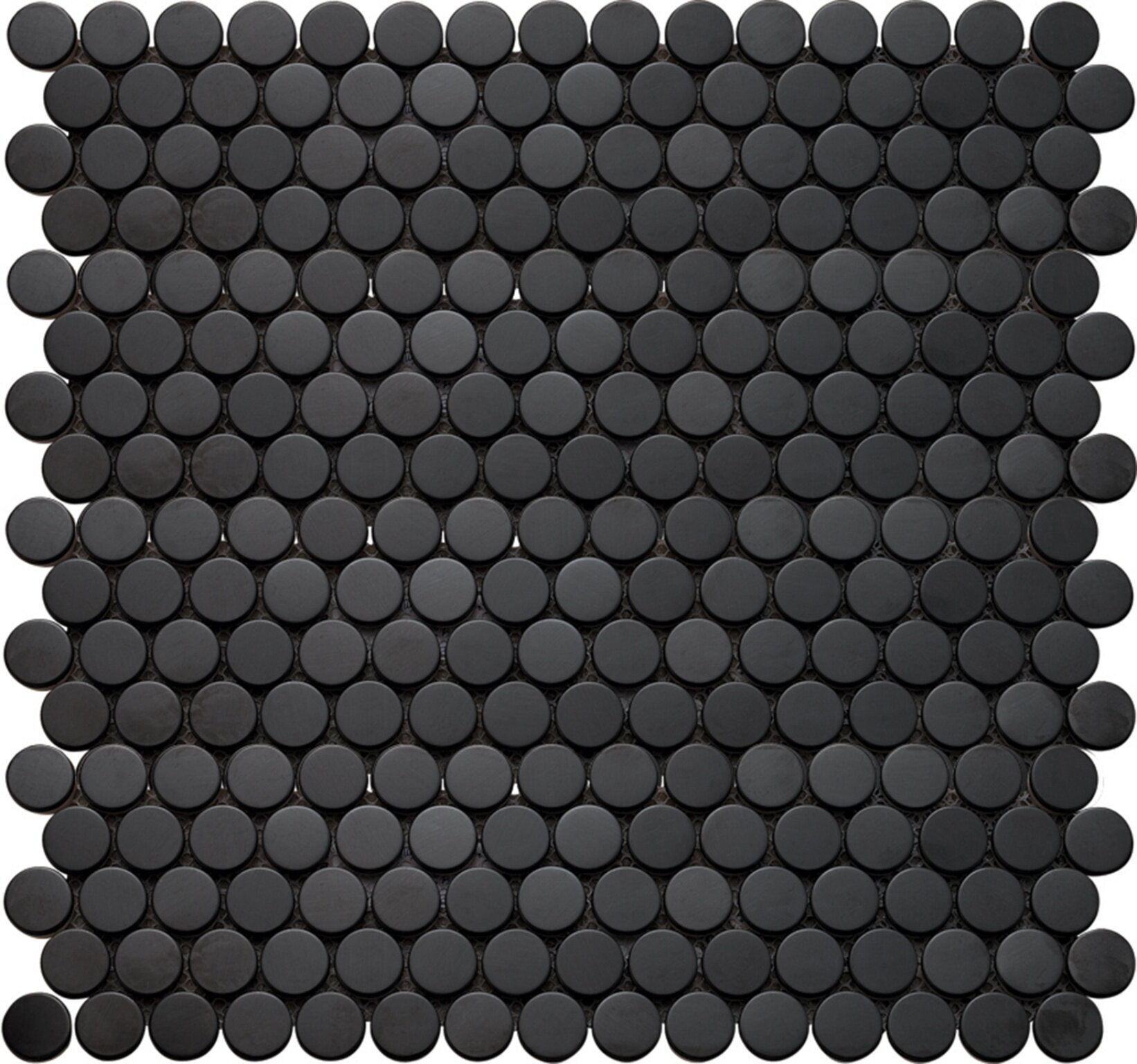 Interceramic Inox Penny Round Glass Mosaic Tile In Black Wayfair