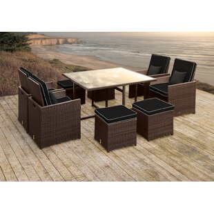 Stella II Patio Rattan 9 Piece Dining Set with Cushions and Square Toss Pillows by Solis Patio