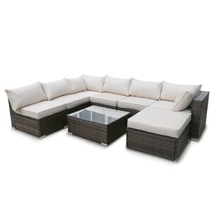 Altus 8 Piece Rattan Sectional Seating Group with Cushions