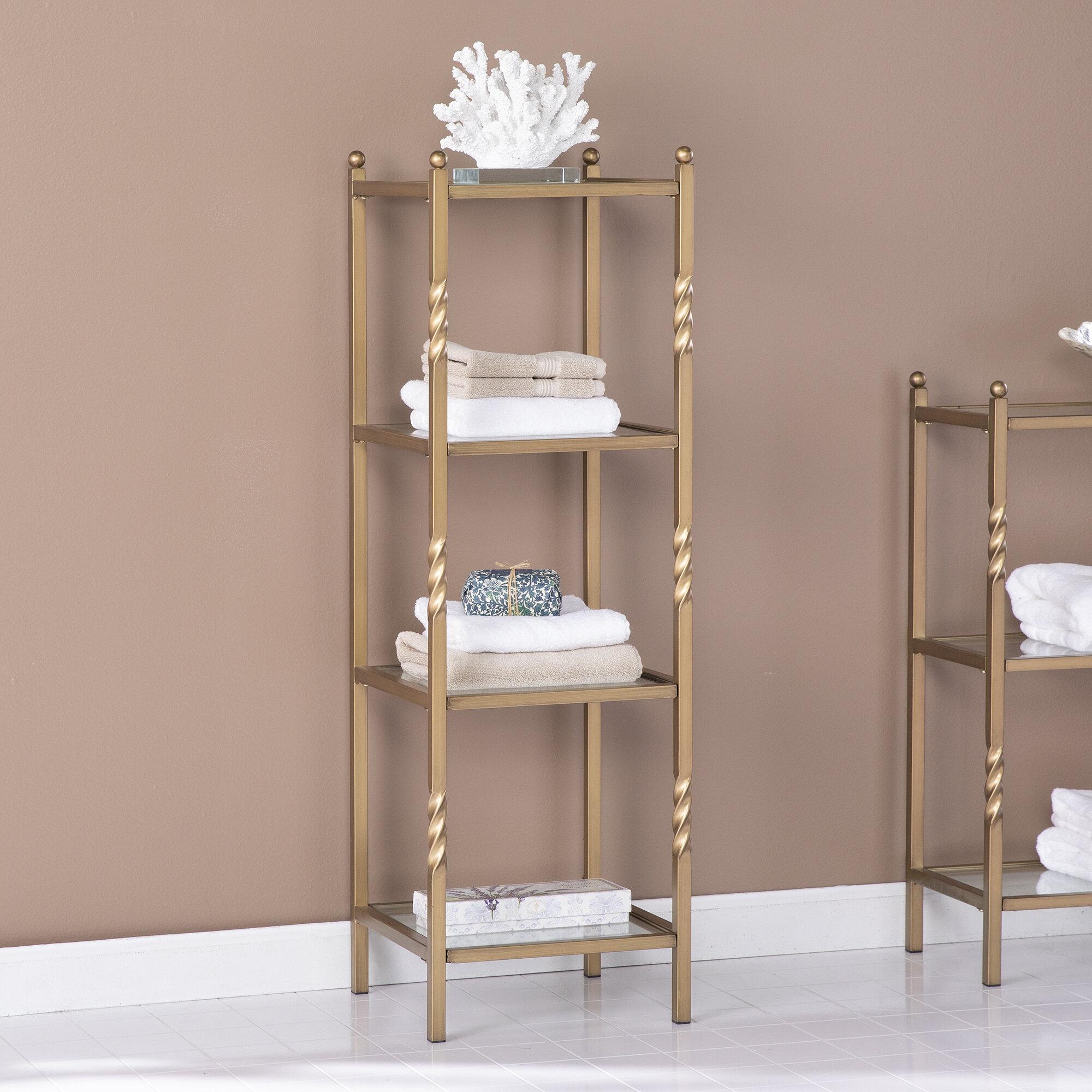 Everly Quinn 13 25 W X 41 75 H X 13 D Free Standing Bathroom Shelves Reviews Wayfair