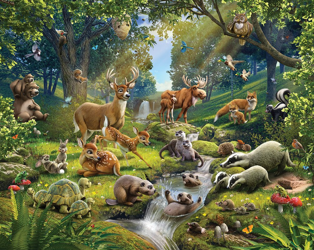 Walltastic Animals Of The Forest 12 Piece Wall Mural