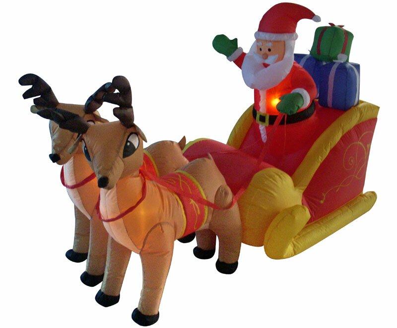 Lb International 4 Inflatable Santa Sleigh And Reindeer Lighted Christmas Decoration Wayfair Ca