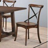 Morison Solid Wood Cross Back Side Chair in Dark Oak (Set of 2) by Alcott Hill®