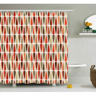 Alexander Retro Home Decor 60S 70S Style Geometric Round Shaped Design With Warm Colors Print Single Shower Curtain