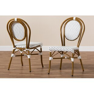 Marcantel Bamboo Stacking Patio Dining Chair (Set of 2)