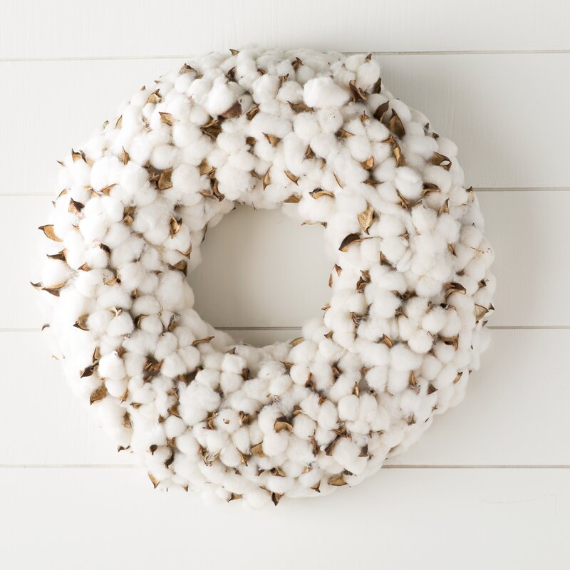 Faux Cotton Burst Wreath