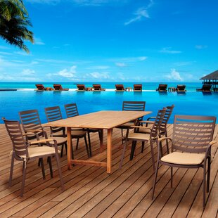 Beachcrest Home Elsmere 9 Piece Teak Dining Set with Cushions