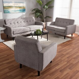 Doty Mid Century Modern Upholstered 3 Piece Living Room Set by George Oliver