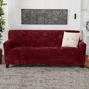 Velvet Plush Form Fit Stretch Box Cushion Sofa Slipcover