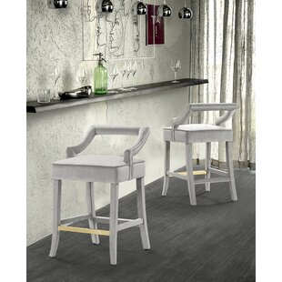 Lundgren Velvet Upholstered Half Back 27 Bar Stool by Mercer41