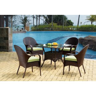 Isabell Stacking Patio Dining Chair with Cushion (Set of 4)