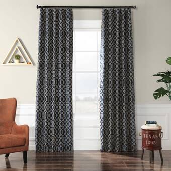 Birch Lane Marc Flocked Faux Silk Synthetic Damask Room Darkening Thermal Rod Pocket Single Curtain Panel Reviews Wayfair