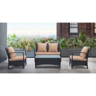 Wainwright 4 Piece Rattan Sofa Set with Cushions