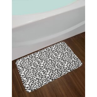 Music Notes Black Modern Bath Rug