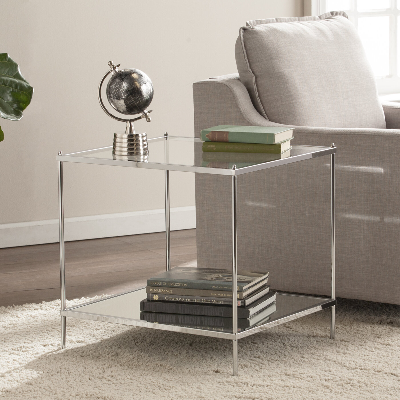Latitude run busey bottom shelf glam mirrored end table reviews wayfair