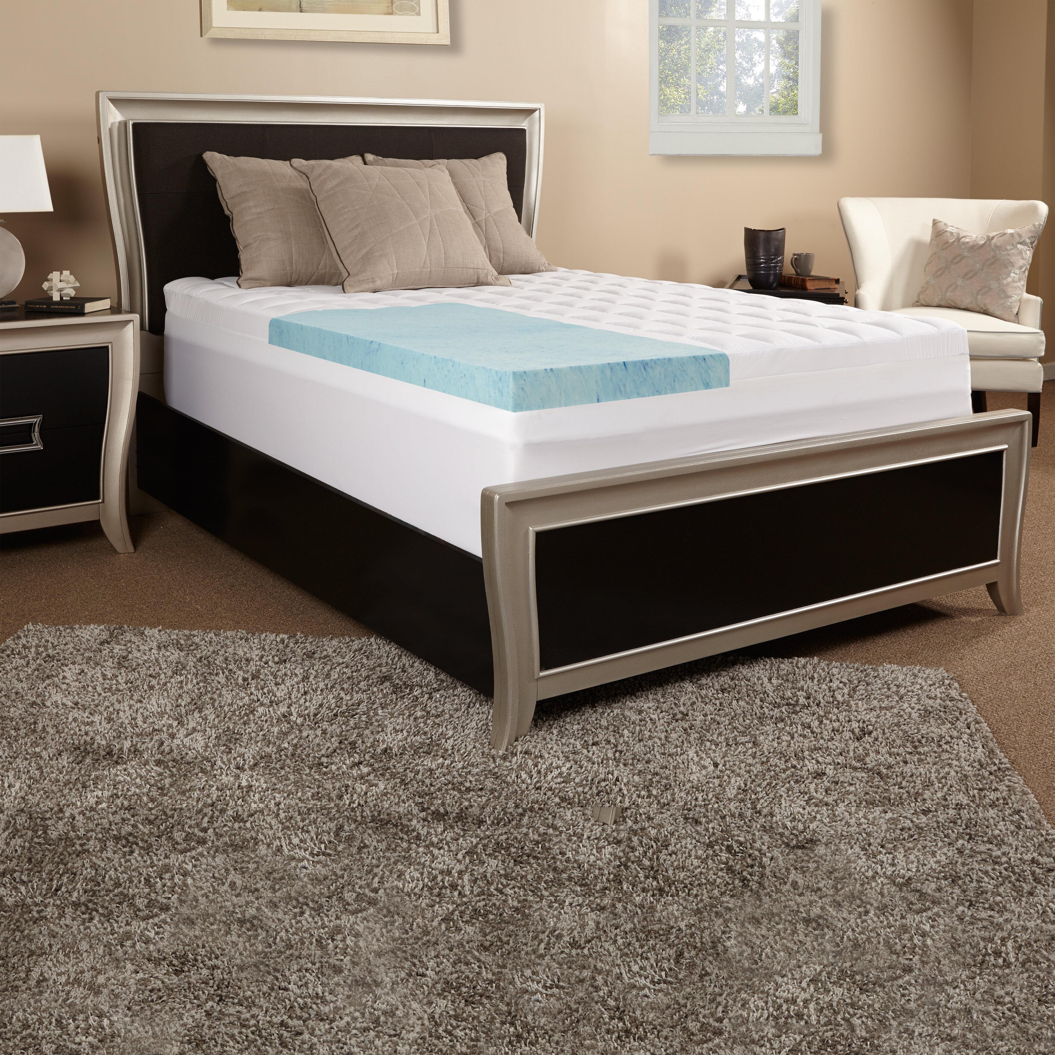 topper perfect slumber memory foam features gel bath the mattress pin