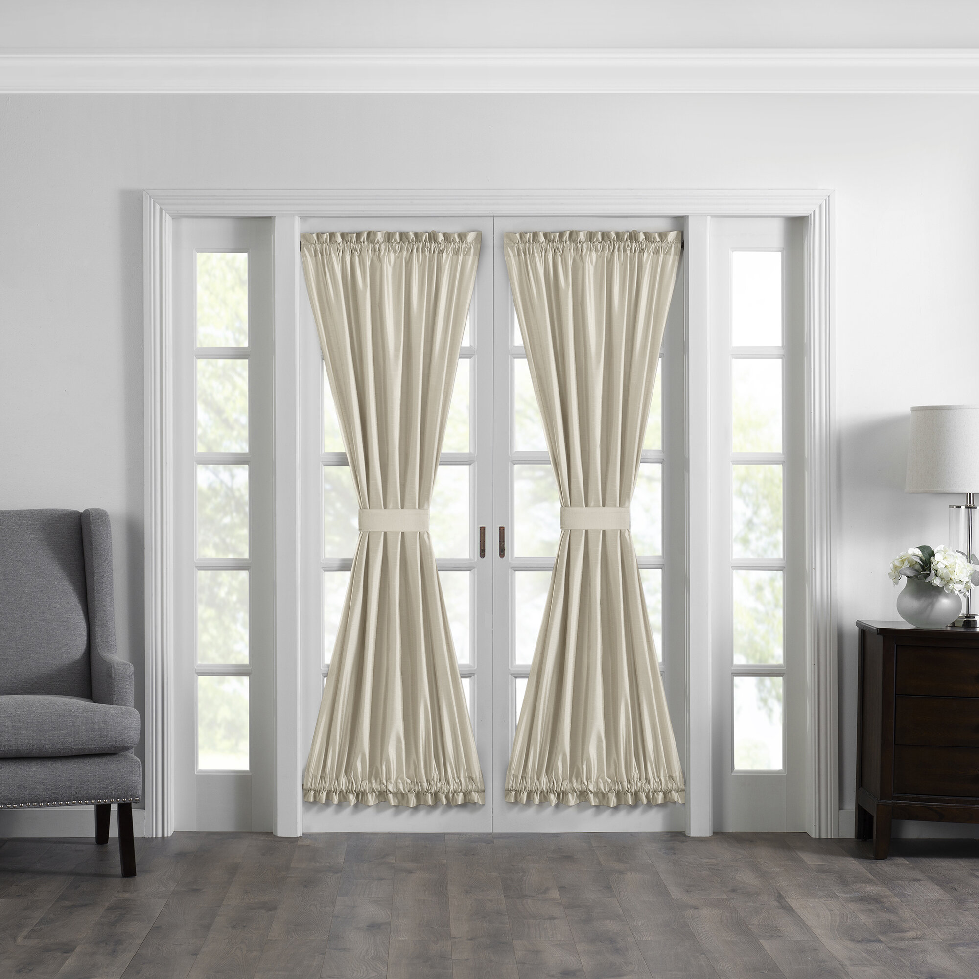 Canora Grey Mullan Solid Semi Sheer Thermal Rod Pocket French Door Curtain Reviews Wayfair