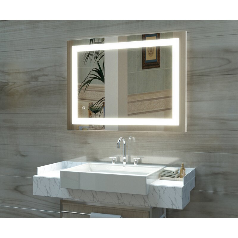 15 Frame Color Width 20 Inch X Height 20 Inch With Solid Cover On The Back Wall Mounted Premium Mirror Ip44 With Switch Make Up Mirror Led Clock Led Lighted Bathroom Mirror Customizable Home