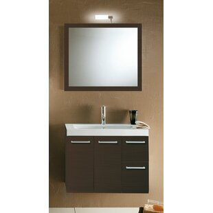 Review Linear 30 Single Wall Mounted Bathroom Vanity Set with Mirror by Iotti by Nameeks